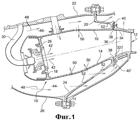 Герметичность между камерой сгорания и направляющим сопловым аппаратом турбины в газотурбинном двигателе