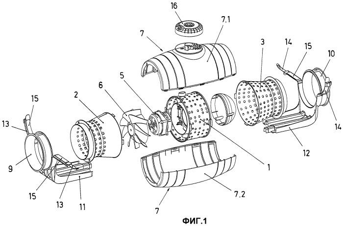 Звукоизолированный диагонально-центробежный вентилятор