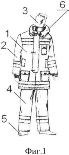 Костюм боевой одежды спасателей, действующих в условиях биогенной обстановки