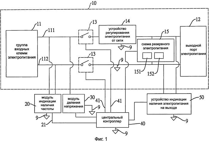 Система бесперебойного электропитания, содержащая упрощенную схему индикации наличия напряжения