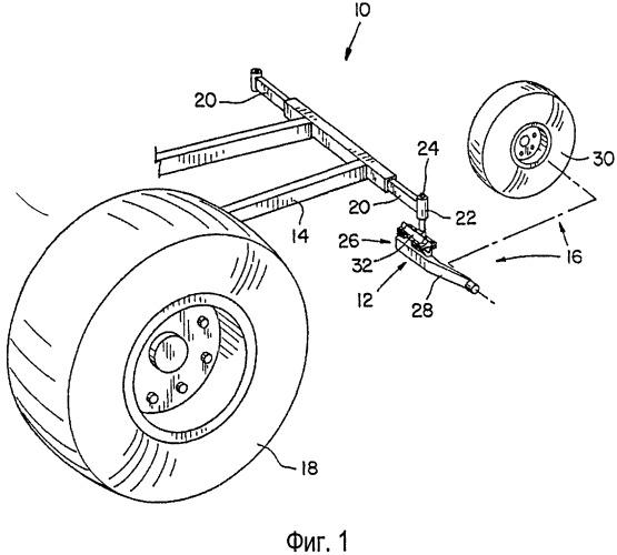Конструкция подвески для задних самоустанавливающихся колес на рабочей машине