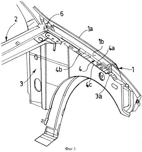 Конструкция крепления переднего крыла автотранспортного средства