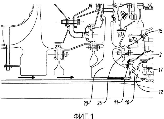 Узел из диска турбины газотурбинного двигателя и опорной цапфы опорного подшипника, контур охлаждения диска турбины такого узла