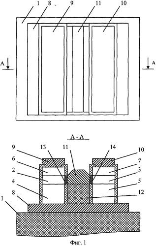 Кмоп-транзистор с вертикальными каналами и общим затвором