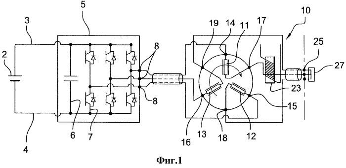Электрическая тяговая цепь для автотранспортного средства