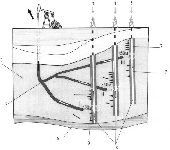 Способ разработки нефтяной залежи с применением разветвленных горизонтальных скважин