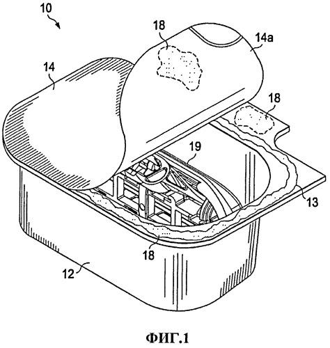 Упаковка с размещенными на ее внутренней поверхности элементами, воздействующими на органы чувств
