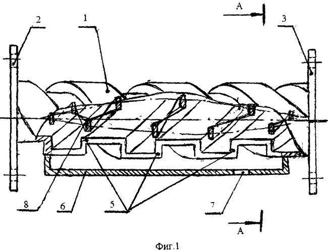 Прямоточный винтовой сепаратор для отделения дисперсных частиц от газа