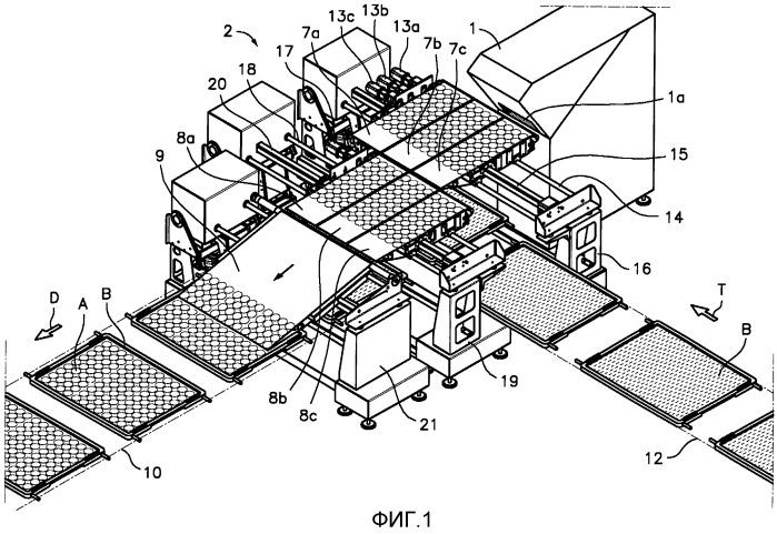 Устройство и способ нарезания ломтиков пищевого продукта и их погрузки на транспортирующую поверхность и установка для обработки, включающая указанное устройство