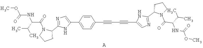Алкил [(s)-1-((s)-2-{5-[4-(4-{2-[(s)-1-((s)-2-метоксикарбониламино-3-метил-бутирил)-пирролидин-2-ил]-3н-имидазол-4-ил}-бута-1,3-диинил)-фенил]-1н-имидазол-2-ил}-пирролидин-1-карбонил)-2-метил-пропил]-карбамат нафталин-1,5-дисульфонат, фармацевтическая композиция, лекарственное средство, способ лечения вирусных заболеваний