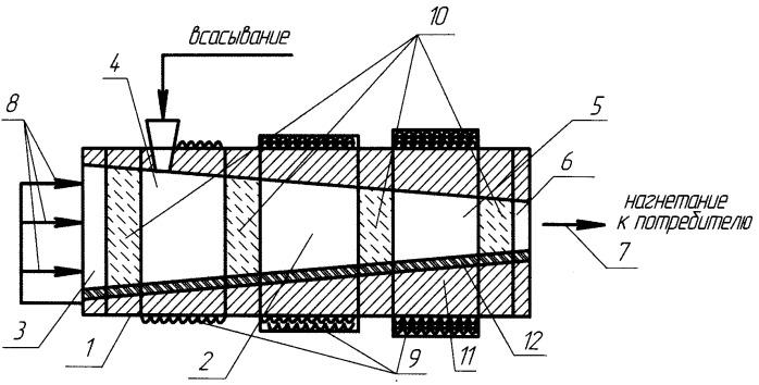 Устройство для сжатия газа посредством жидкого рабочего тела