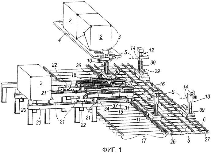 Система и способ выгрузки и погрузки грузосодержащих модулей из открытых грузовых платформ и на платформы