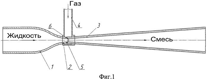 Устройство для эжекции низконапорного газа в поток жидкости