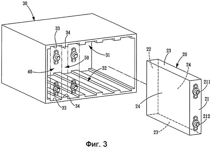 Корпусная конструкция для удержания группы прямоугольных вторичных батарей