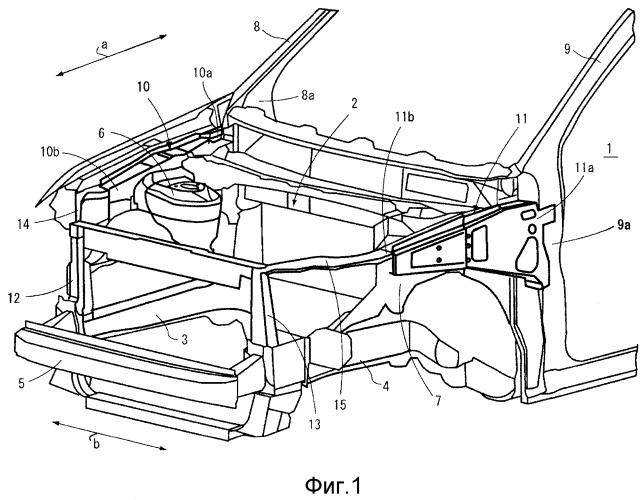 Конструкция корпуса передней части транспортного средства