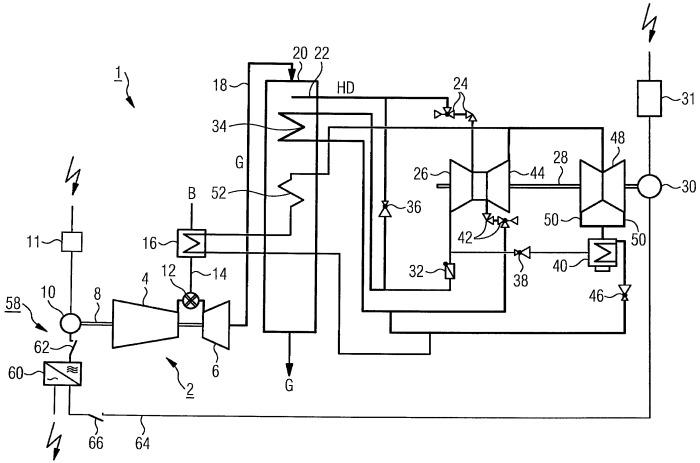 Способ управления газопаротурбинной установкой с частотным преобразователем