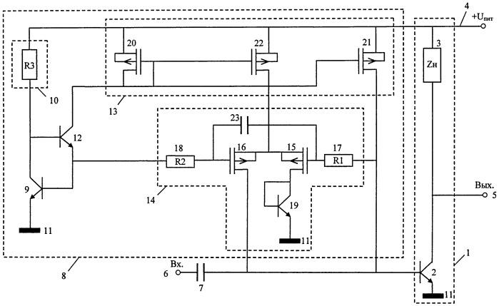 Высокочастотный усилитель с устройством стабилизации тока коллектора