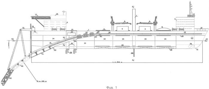 Морское судно для укладки стальных труб, гибких элементов и подводных конструкций в ледовых условиях