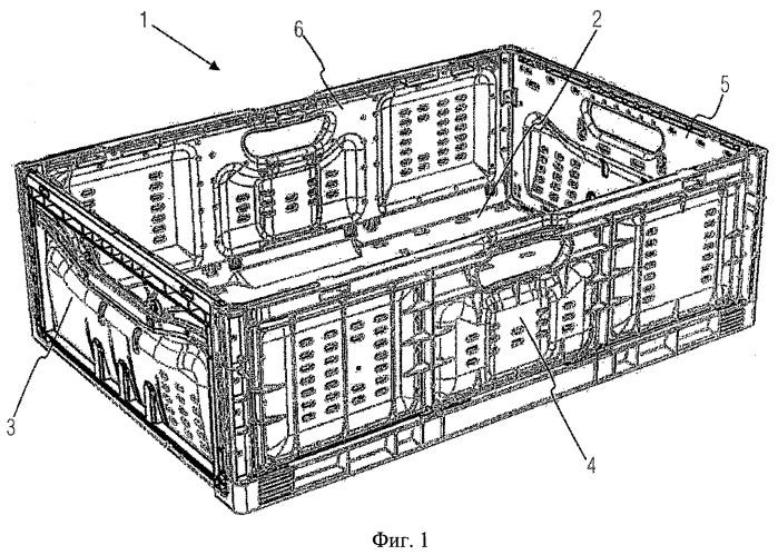 Контейнер со складывающейся боковой стенкой