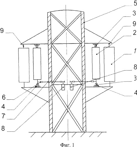 Ветроэнергетическая установка преимущественно для высотного сооружения