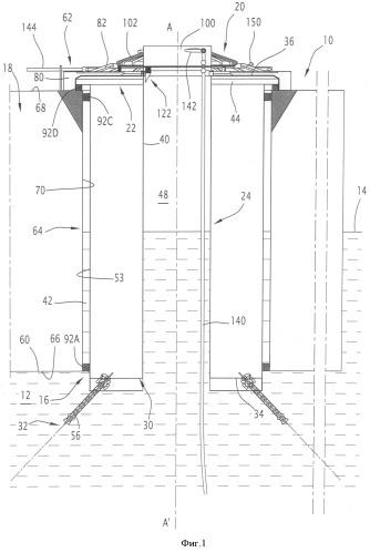 Способ отсоединения устройства перекачки текучей среды между дном водного пространства и поверхностью и соответствующее устройство перекачки
