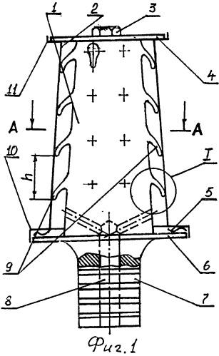 Металлокерамическая лопатка газовой турбины