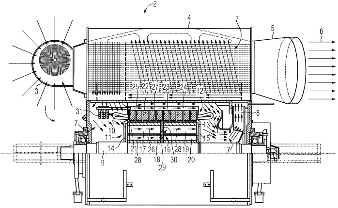 Электрическая машина с несколькими охлаждающими потоками и способ охлаждения