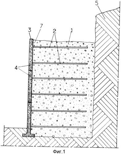 Сооружение из упрочненного грунта и элементы наружной обшивки для его конструкции