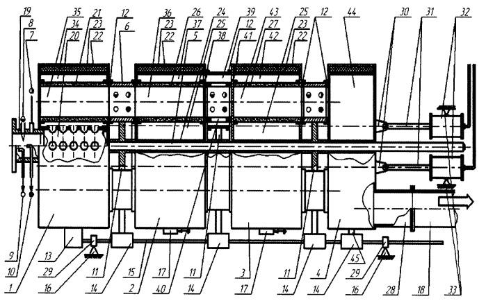 Установка для испытаний кассетного нейтрализатора отработавших газов двигателя внутреннего сгорания