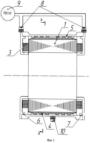 Система жидкостного охлаждения статора электрических машин автономных объектов