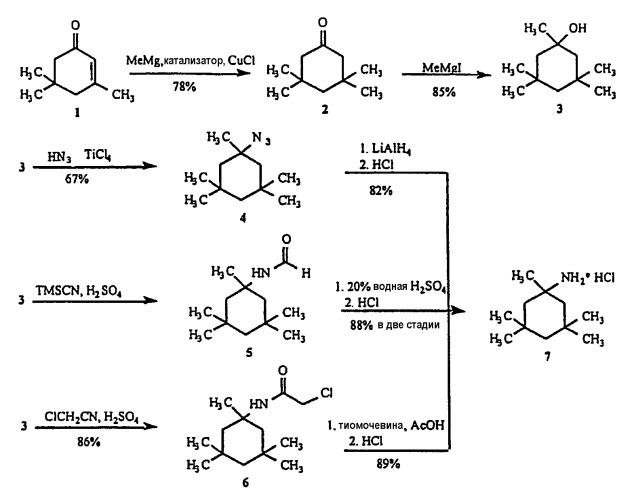 Синтез мезилата 1-амино-1,3,3,5,5-пентаметилциклогексана