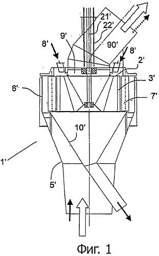 Центробежное устройство выборочного гранулометрического разделения твердых порошкообразных веществ и способ использования такого устройства