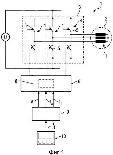 Способ функционирования судового приводного двигателя, питаемого инвертором с широтно-импульсной модуляцией, а также система судового привода