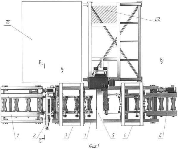 Установка поперечного раскроя ствола на чураки с механизмом перемещения ствола с устройствами отмера и фиксации его и пильным механизмом