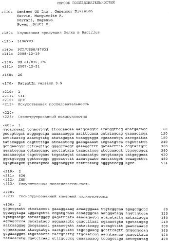 Улучшенная продукция белка в bacillus
