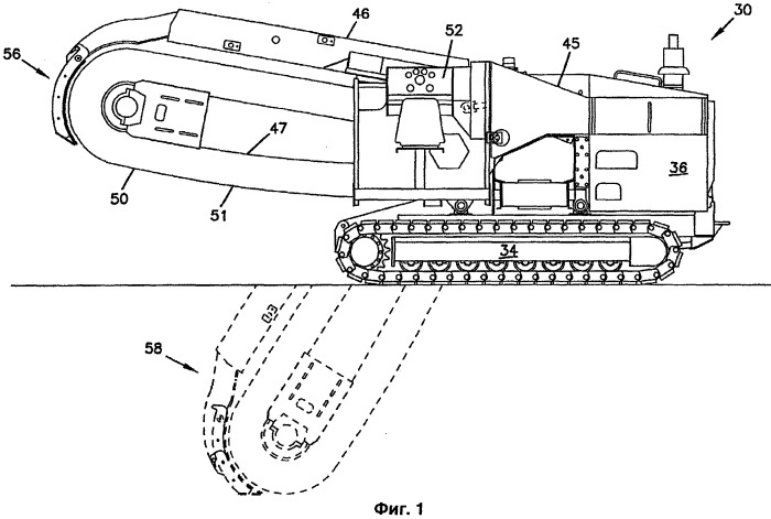Канавокопатель с автоматическим врезанием и регулировкой глубины стрелы