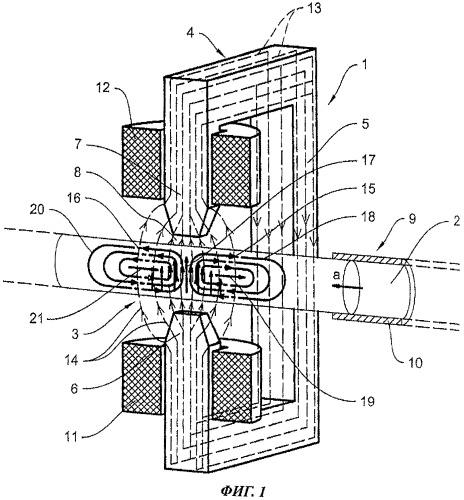 Способ и устройство для управления скоростью потока и замедления потока расплавов с помощью магнитных полей при выпуске из металлургических емкостей, таких как доменные печи и плавильные печи