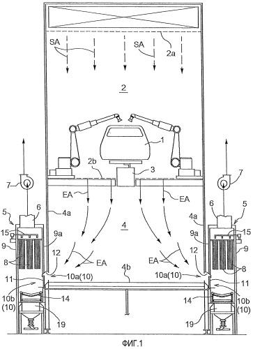 Фильтрующее устройство, покрасочная кабина, использующая фильтрующее устройство, и упрощенная покрасочная кабина, использующая фильтрующее устройство