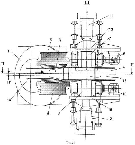 Прокатный стан в виде вращающегося расширителя трубных изделий с системой стабилизации наконечника
