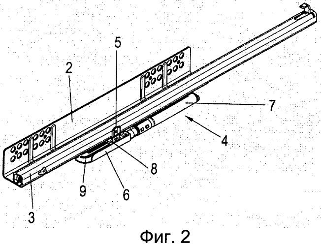 Открывающее и закрывающее устройство направляющей для выдвигания и направляющая для выдвигания
