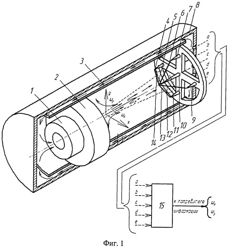 Двухкомпонентный струйный датчик угловой скорости