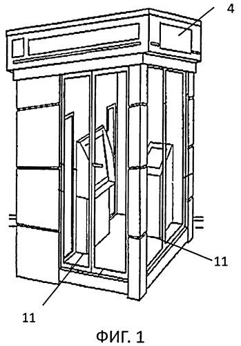 Система монтажа банковского устройства самообслуживания в павильоне для оказания банковских услуг
