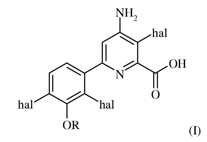 Защита от повреждения гербицидом 6-(трехзамещенный фенил)-4-амино-2-пиридинкарбоксилата посеянного семенами и рассадного риса-сырца