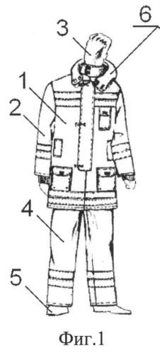 Костюм боевой одежды спасателей, действующих в условиях горящих объектов при наличии летящих и падающих предметов разрущающегося объекта