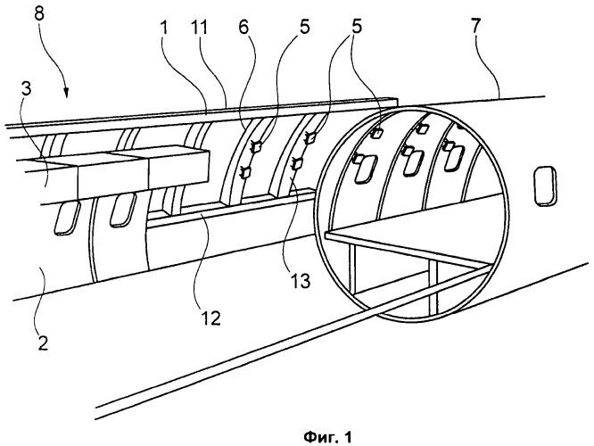 Устройство для предварительной сборки и встраивания, по меньшей мере, части салона воздушного судна в конструкцию воздушного судна