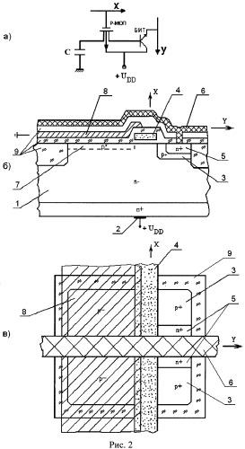 Функционально-интегрированная ячейка фоточувствительной матрицы