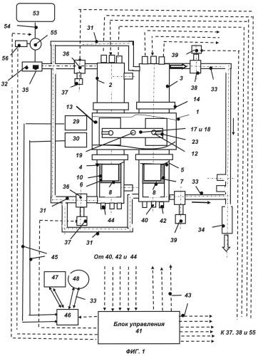 Четырехцилиндровый свободнопоршневой двигатель