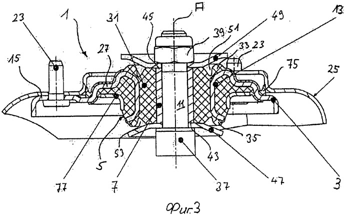 Эластичная опора головки амортизационной стойки для автомобиля и способ регулирования напряжения сжатия в эластичном кольцевом теле опоры головки амортизационной стойки