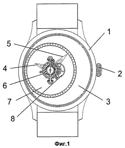 Таинственные часы с турбийоном, способ передачи движения в часовом механизме и способ компоновки таинственных часов с турбийоном