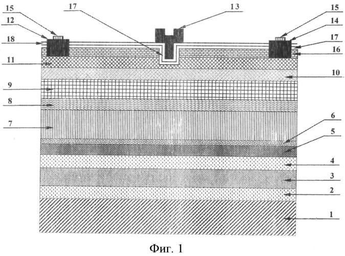 Мощный транзистор свч с многослойной эпитаксиальной структурой